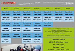 Crown Fitness Class Time Table